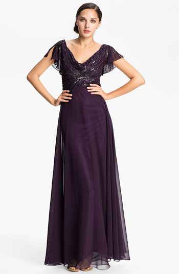 J Kara Embellished Drape Bodice Chiffon Gown available at #Nordstrom  Mother of the Bride