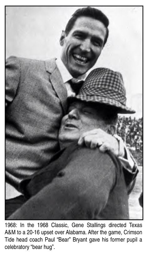 Cotton Bowl memories - 1968 Bear Bryant lifting Gene Stallings after A&M defeated Bama in the Cotton Bowl #Alabama #RollTide #BuiltByBama #Bama #BamaNation #CrimsonTide #RTR #Tide #RammerJammer #CottonBowl #MichStvsALA #Playoff