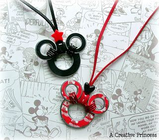 Disney mouse ears necklaces made from washers -- 50 Disney Crafts