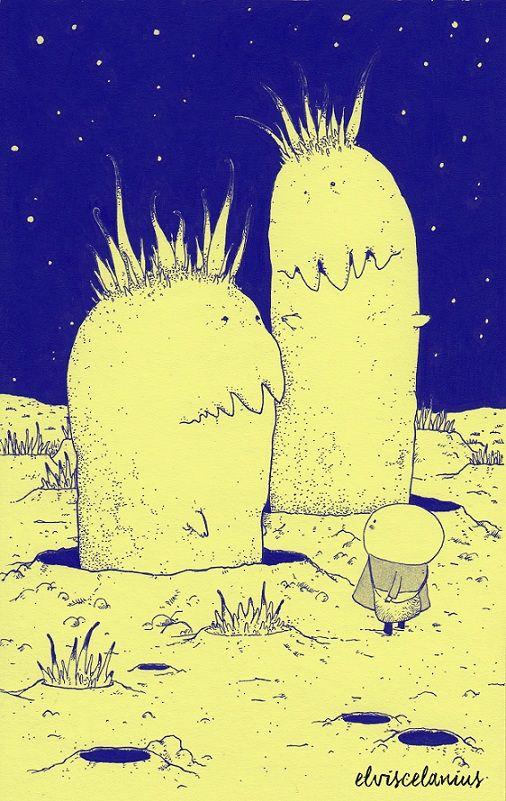 """En los cráteres de Pipopú, Eu conoció a los curiosos gusanos Jujube y Jojobe. En cuyas cabezas crecen vegetales que hacen fotosíntesis recibida desde las estrellas durante la noche para mantenerlos activos. Lo único que repetían era """"jejoooojeeee... jejoooojeeee"""", en tonos muy graves. Eu entendió la indirecta y se retiró disimuladamente porque """"jejoooojeeee"""" significa """"mi almuerzo"""" (By Elviscelanius)"""