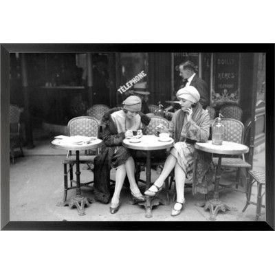 Buy Art For Less 'Vintage Jeunes Femmes (Girls at Cafe) Poster' Framed Photographic Print