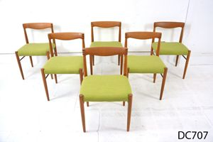 Henry w Klein designed teak dining chairs, New upholstered