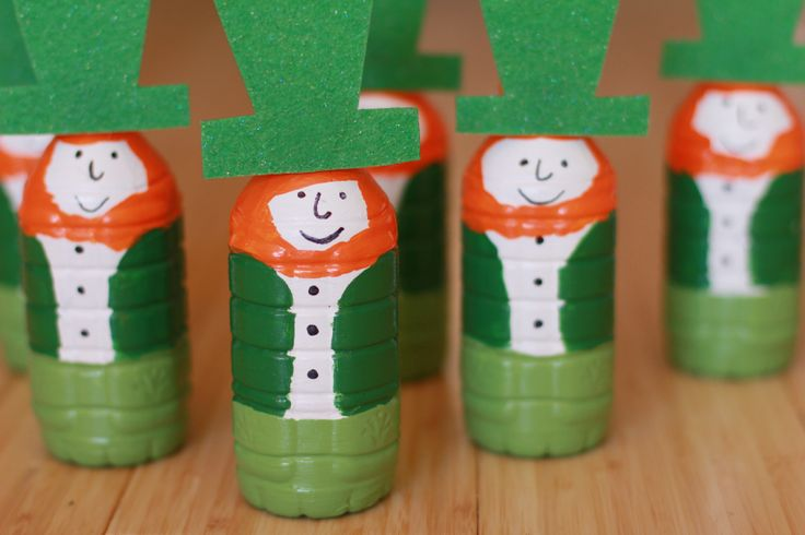 Leprechaun Bowling Pins made from plastic bottles! Video shows you how to craft them!