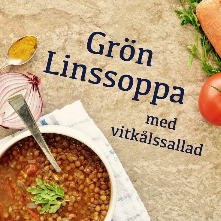 Grön linssoppa med vitkålssallad! Receptet finns i meny 2.  Du hittar alla våra menyer på hemsidan.  www.allaater.se