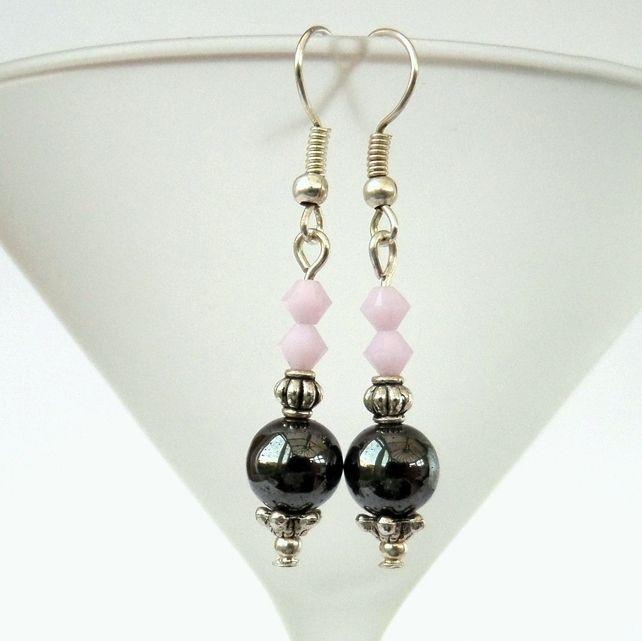 Handmade hematite earrings with pink Swarovski crystals £6.00