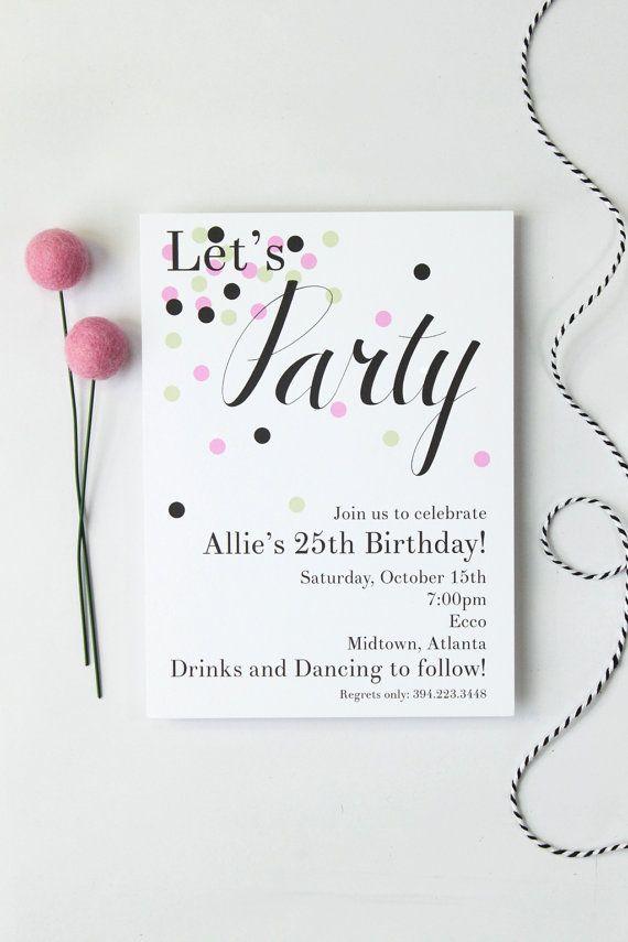Custom Girls Birthday Invitation Cocktail Party by WhenItRainsShop