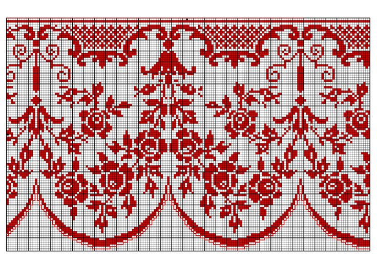 Border 59 | Free chart for cross-stitch, filet crochet | Chart for pattern - Gráfico