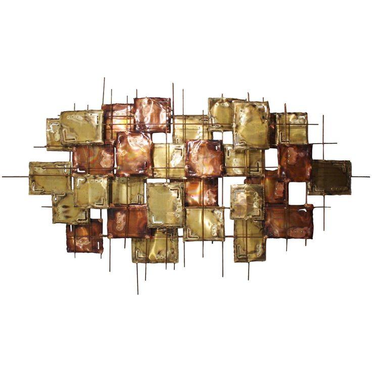 Large Brutalist Copper Wall Art, Signed
