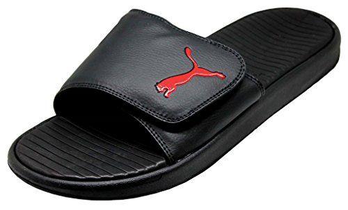 f319ef77da5 Puma Men s Beach slippers Velcro Closure Slides - Black   Red - Sizes 8-12  (12)