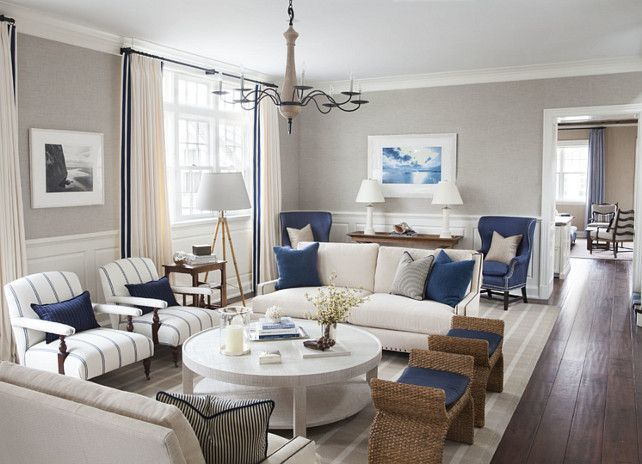 East Coast House With Blue And White Coastal Interiors   Great Layout For A  Rectangular Room