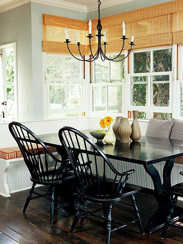 Create a cozy u-shaped banquette to maximize seating and table space.: Dining Rooms, Breakfast Rooms, Bench Seats, Lights Fixtures, Breakfast Nooks, Black Tables, Kitchens Nooks, Black Chairs, Windsor Chairs