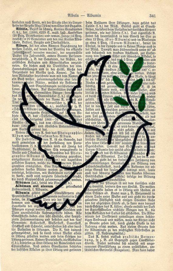 Friedenstaube Zeichnung Wandbild Antiquarische von fantasmania