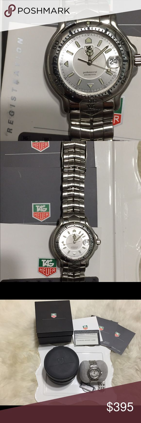 Tag Heuer Men's Professional 6000 white dial Great condition, original box, tags, extra link and brand new battery. Size is 40mm including the crown. Hubby got it as a birthday gift over 10 years ago. No trade and will consider a reasonable offer. Tag Heuer Accessories Watches