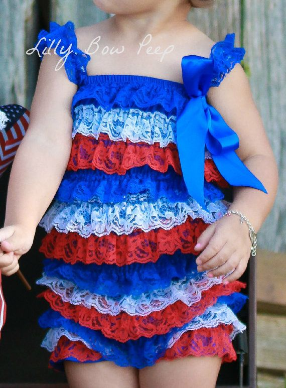 Red White & Blue 4th Of July Lace Petti Romper,US Flag,Stripes,Baby Girl Clothes,Newborn,Infant,Child,Preemie,Military Outfit,Navy,Army,baby