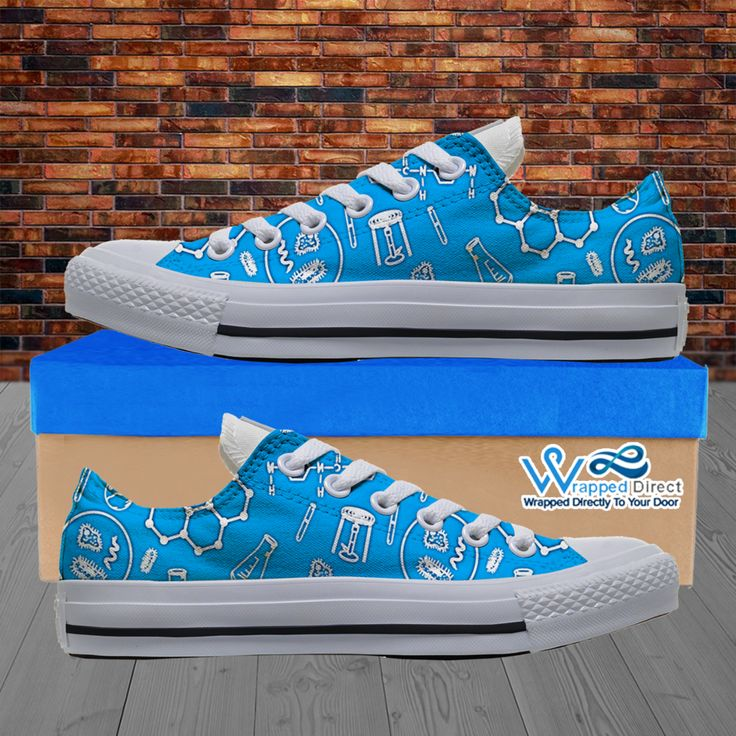 Womens Low Top Science Canvas Sneakers In Blue/White | Wrapped Direct