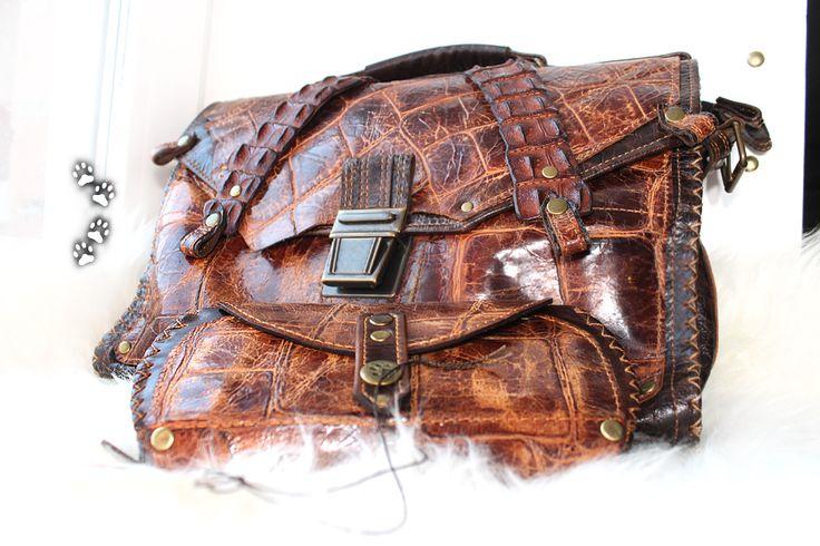 Портфель женский винтажная кожа натуральный крокодил кошелёк ручная работа / Leather handbag wallet genuine crocodile handmade