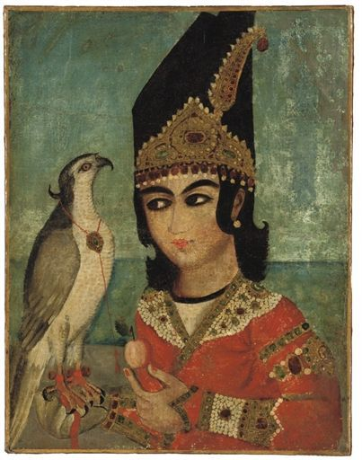 A Qajar Portrait of a Prince & His Hawk – Mid 19th Century – Iran