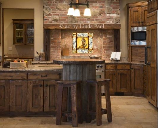 Country Kitchen Decor With Cowboy Boot And Horses Mural