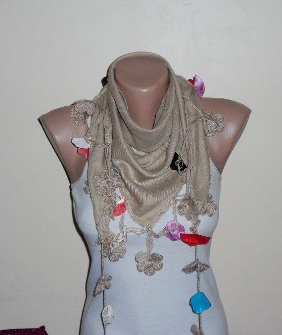 light brown scarf  cream  flower red blue lilac cotton turkish