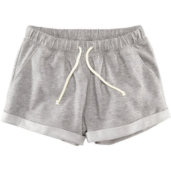 H&M Sweatshirt shorts ($12) ❤ liked on Polyvore featuring shorts, bottoms, pants, pajamas, grey marl, mini shorts, short shorts, grey shorts, h&m shorts and micro shorts