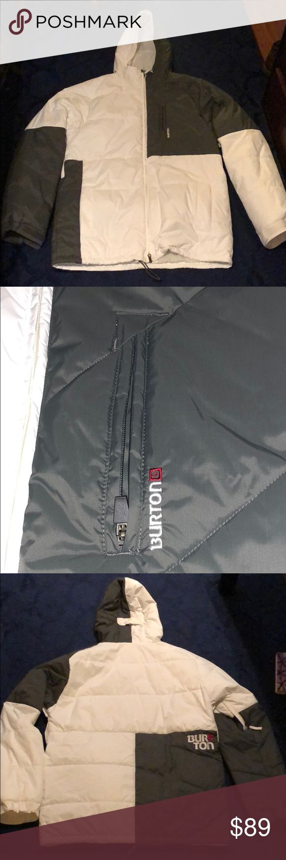 Burton Ski Jacket in Like New condition! White/Grey burton ski jacket worn once! Burton Jackets & Coats Ski & Snowboard #skiing