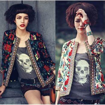 New Women Flower Print Seven Sleeve Zipper Short Thin Jacket Coat Tops