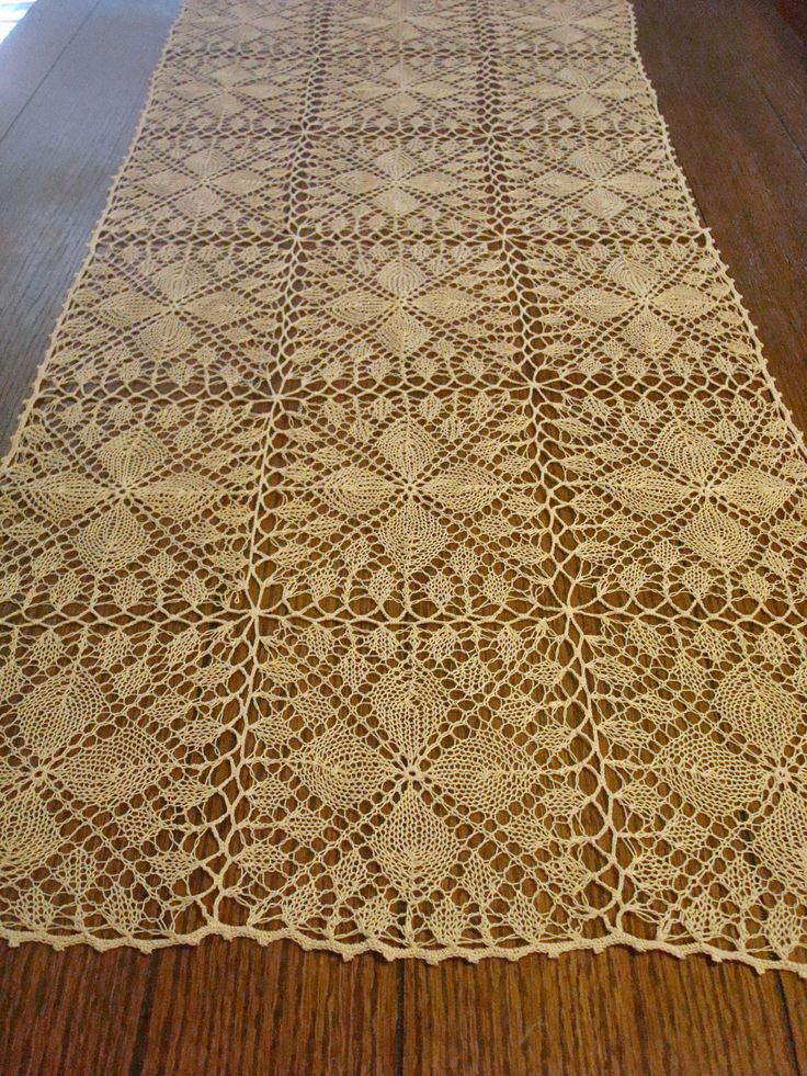 Knitted Table Runner Lace Pattern : 35 best images about Knitted Home Fashion on Pinterest Museums, Yarns and R...