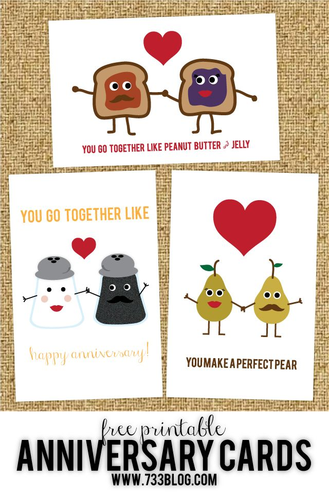 Free Printable Anniversary or Wedding Cards