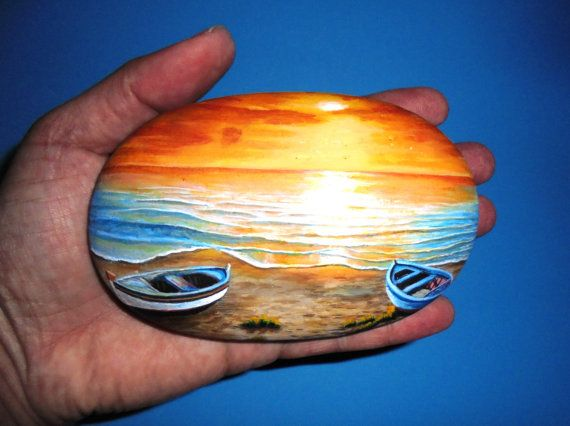 Hand painted stone beautiful Landscape with two boats on the sunset !  A great handmade painted stone made by me!    Is painted on a smooth sea