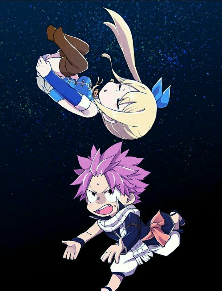 I love how natsu is always there to catch her when she is falling