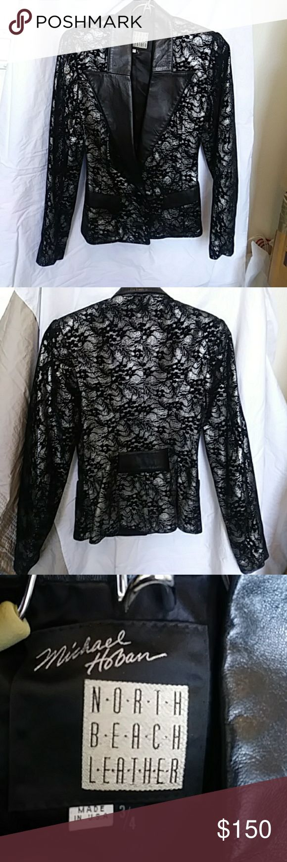 BLACK/SILVER LEATHER NORTH BEACH JCKT, SML BEAUTIFUL NORTH BEACH BLACK AND SILVER LEATHER JACKET. POCKETS. LOOKS LIJE SILVER AND BLACK LACE North Beach Leather Jackets & Coats Blazers
