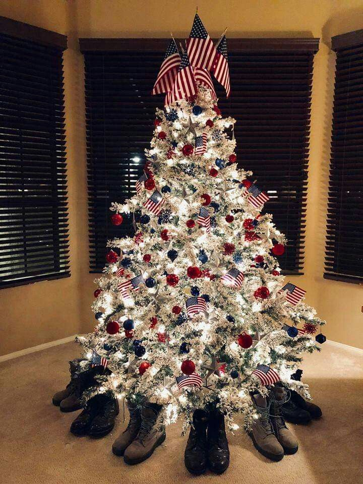 Pin By Margaret Jones On God Bless America Patriotic Christmas Tree Patriotic Christmas Decorations Patriotic Christmas