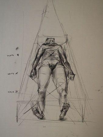 Verkorting: Hiermee wordt aangeduid dat een lichaamsdeel of een ander voorwerp dat naar de schilder toe wijst of er vandaan, door de werking van het perspectief sterk wordt verkort.