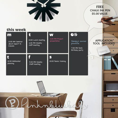 Made in USA chalkboard weekly planner wall decal
