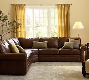 pearce leather 3piece lshape sectional with wedge pottery barn