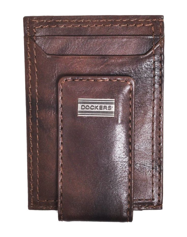 Dockers Men's Leather Front Pocket Card Case Wallet with