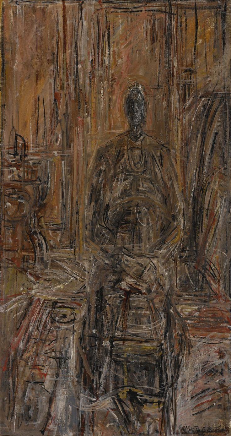 Alberto Giacometti (Swiss, 1901-1966), Femme assise (La mère de l'artiste) [Seated Woman (The Artist's Mother)], 1947. Oil on canvas, 69.5 x 37.1 cm.
