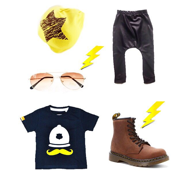"""⚡️⚡️Just a little #flatlay inspo including some of our favorite IG shops!  This style is totally unisex!  Beanie & sunnies from @lovemybambino  Crotch leggings by @babyleggingco  Boots by @drmartensofficial & our #MÔMES """"Philippe"""" tee!Totally rad #ootd ⚡️⚡️ #ootdinspo#unisex#kidsfashion#punk#rocknroll#fashion#organicotton#handcrafted#fauxleather#organic#handmade#lovemybambino#punk#grunge"""
