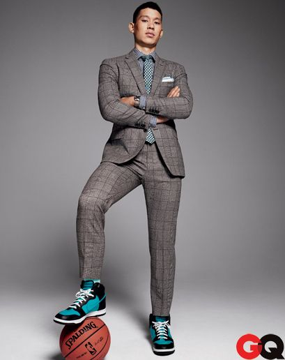Jeremy Lin's GQ (Nov '12): Love this pairing of tweed suit & blue accent, tie & sneaks.