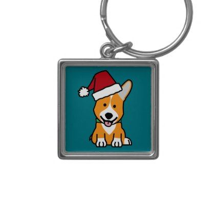 #Corgi dog puppy Pembroke Welsh Christmas Santa hat Keychain - #pembroke #welsh #corgi #puppy #dog #dogs #pet #pets #cute #pembrokewelshcorgi