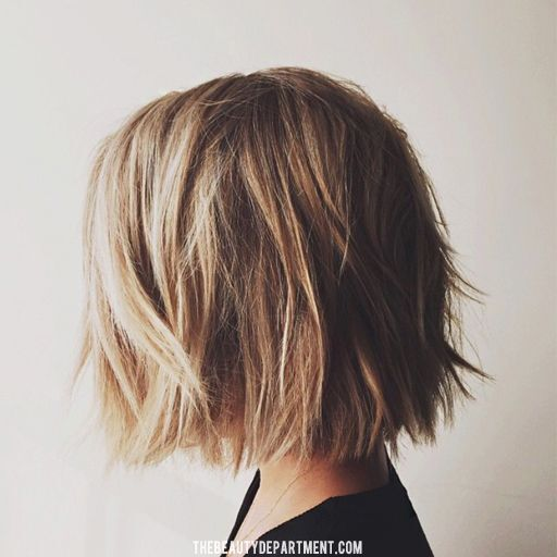 Side view of chic textured bob cut