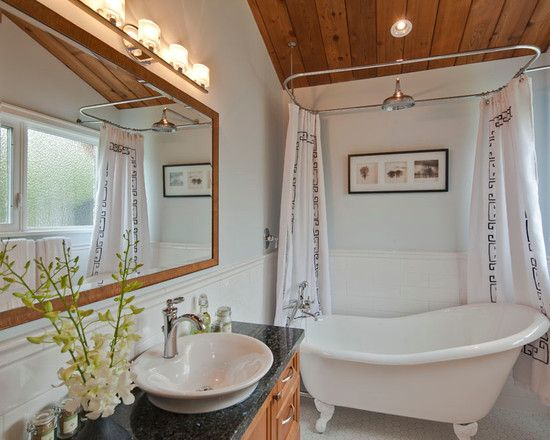 How to Make Mesmerizing 4 Foot Tub for Modern Bathroom: Wonderful 4 Foot Tub With Wood Frame Mirror And White Shower Curtain Also Recessed Lighting Plus Wooden Ceiling And Octagonal Tile Flooring Plus Pendant Lighting For Modern Bathroom ~ mynines.com Bathroom Inspiration