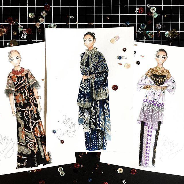 "My ""mini cards"" illustration for @biyanofficial ✨ am obsessed! 😍😍😍 #biyanxtenunbaron #poerenadie"