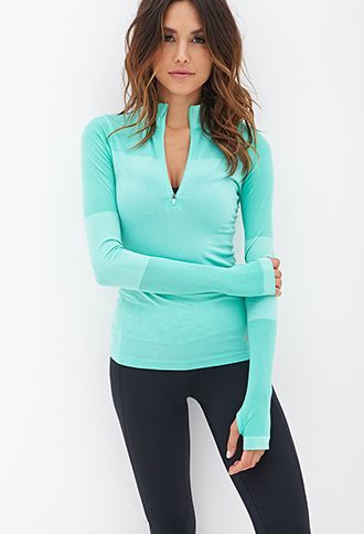 Fitted Half-Zip Pullover Jacket | FOREVER21 Bright minty color with accents on the elbows and the hands