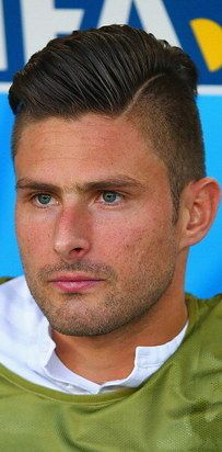 Soccer star Olivier Giroud and his precisely placed hair part. | 27 Men's Undercuts That Will Awaken You Sexually