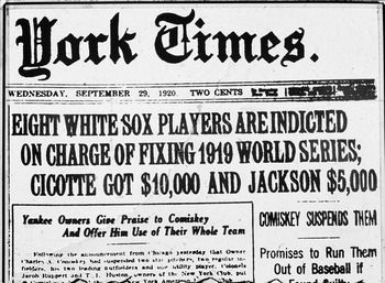 1919 World Series, Chicago White Sox vs Cincinnati Reds scandal