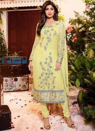 Shilpa Shetty Yellow Embroidery Work Georgette Satin Print Churidar Suit