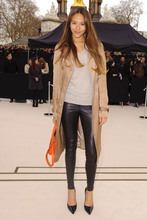 #leather pants with a trenchcoat