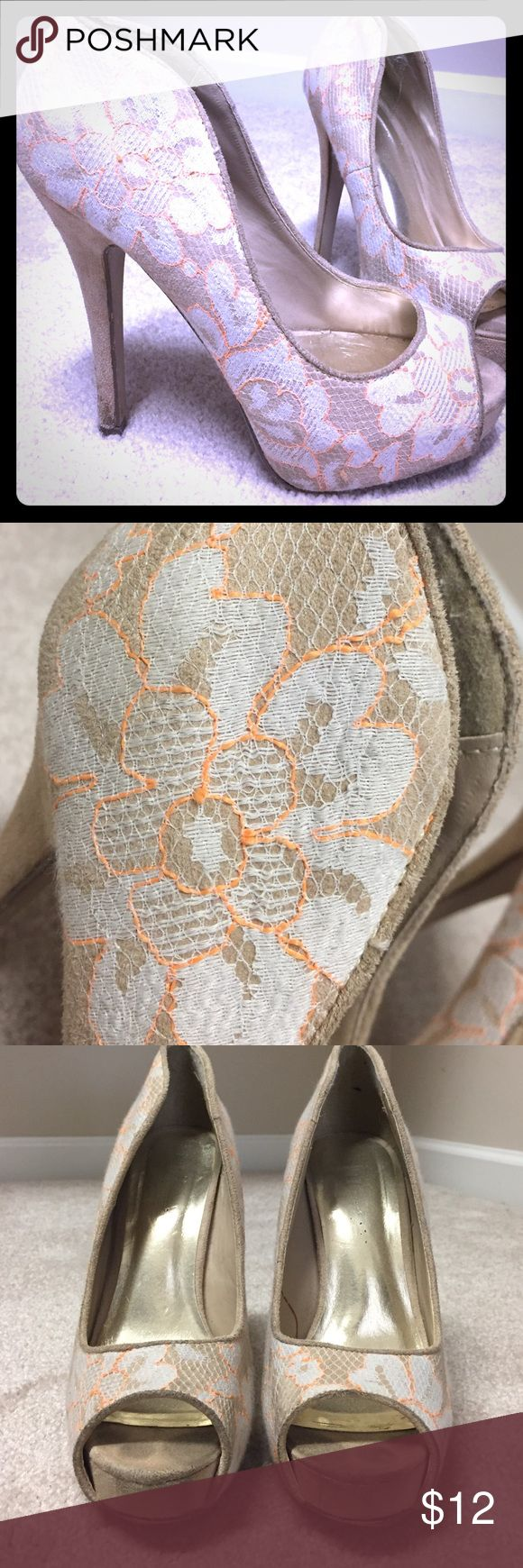 Tan lace high heels Super cute. Lace cream colored plate form high heels. Extremely comfy for being 4inches high Shoes Platforms