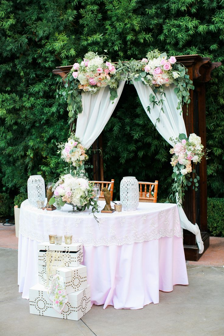 Franciscan Gardens Wedding Arch And Sweetheart Table Blush Wedding Wedding Arch With Draping